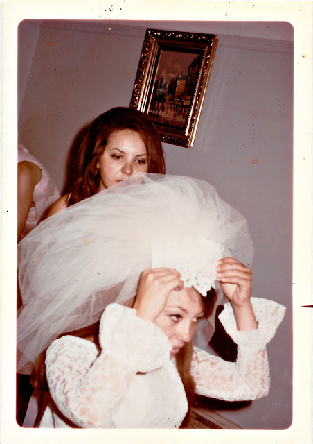 "Mary ""Masha"" Goosev helps Elena Vasilev get ready for her wedding in June 1970 at the Holy Trinity Cathedral in San Francisco, California"