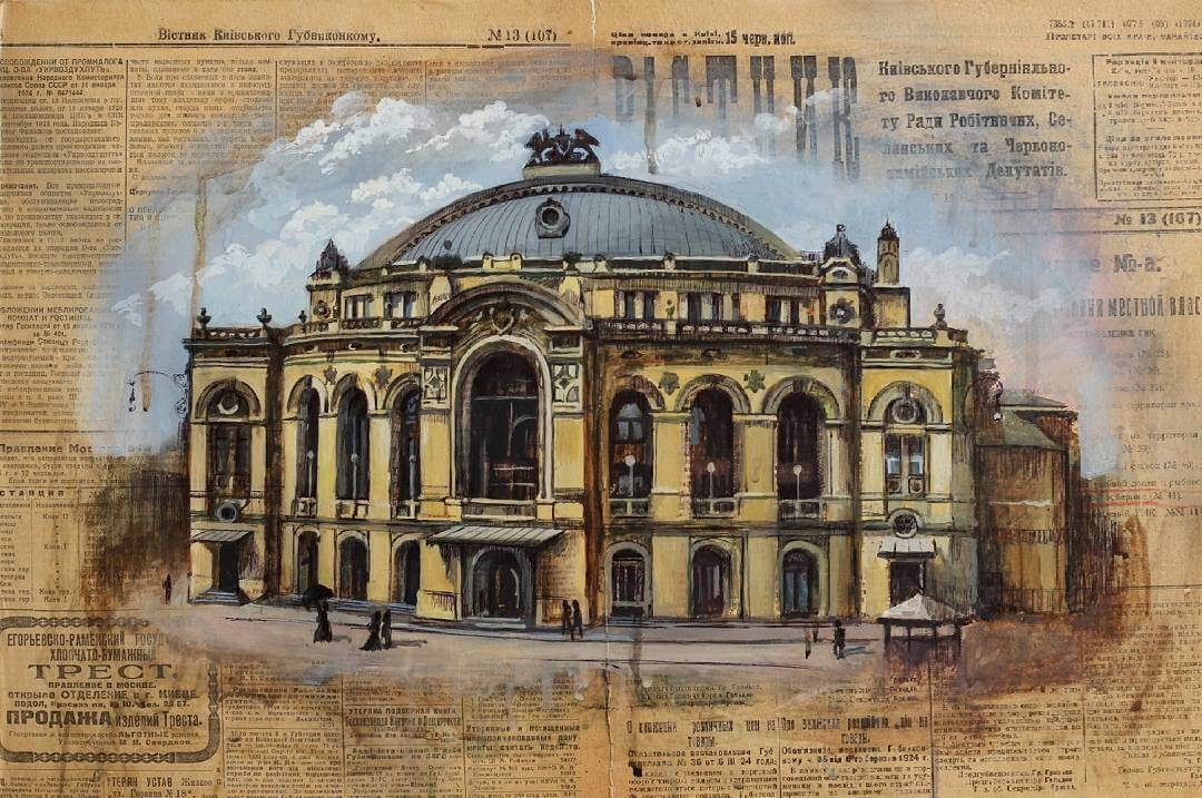 01-National-Opera-of-Ukraine-Martha-Nyrkova-Urban-Sketching-Drawings-and-Paintings-www-designstack-co