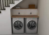 Ideas para ahorrar espacio debajo de la escalera lavadero con doble lavarropas