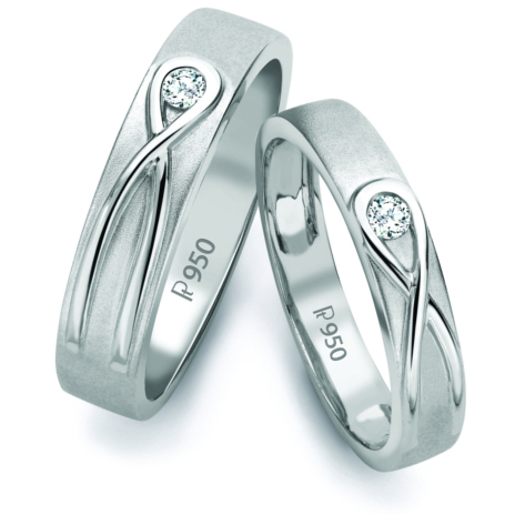 Infinity Knot Platinum Love Bands SJ PTO 115 by Jewelove
