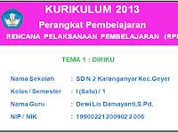 RPP Kurikulum 2013 Kelas 1 Semester 1 dan 2 Revisi 2017
