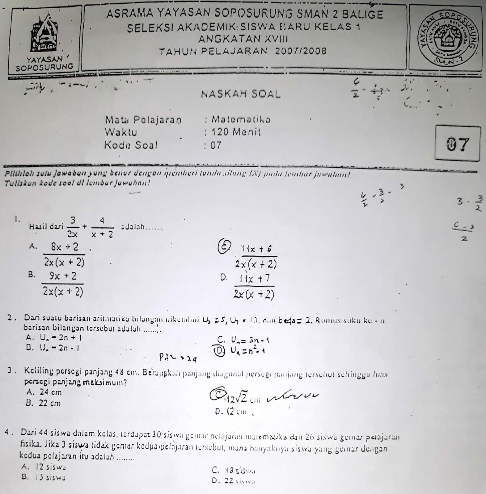 Matematika SMP, Seleksi Akademik Masuk Asrama YASOP SMAN 2 Balige 2007