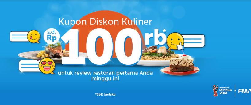 Traveloka - Kupon Diskon s.d 100 Ribu Untuk Review Pertama Kuliner Traveloka