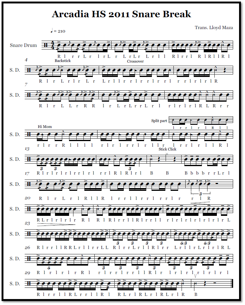 percussion and drum stuff snare drum sheet music arcadia high school 2011 snare break