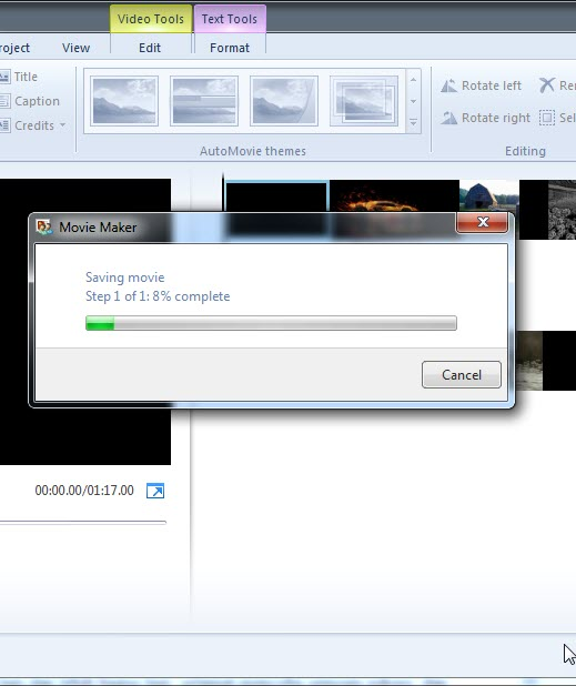 proses rendering video movie maker