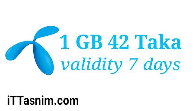 Gp 1 GB 42 Taka | 7 days | Gp new internet offer