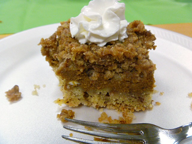 Pumpkin Pie Bars:  Need a fall flavored dessert that will feed a crowd?  It is a cross between a pumpkin pie and a cake.  It is out of this world! - Slice of Southern