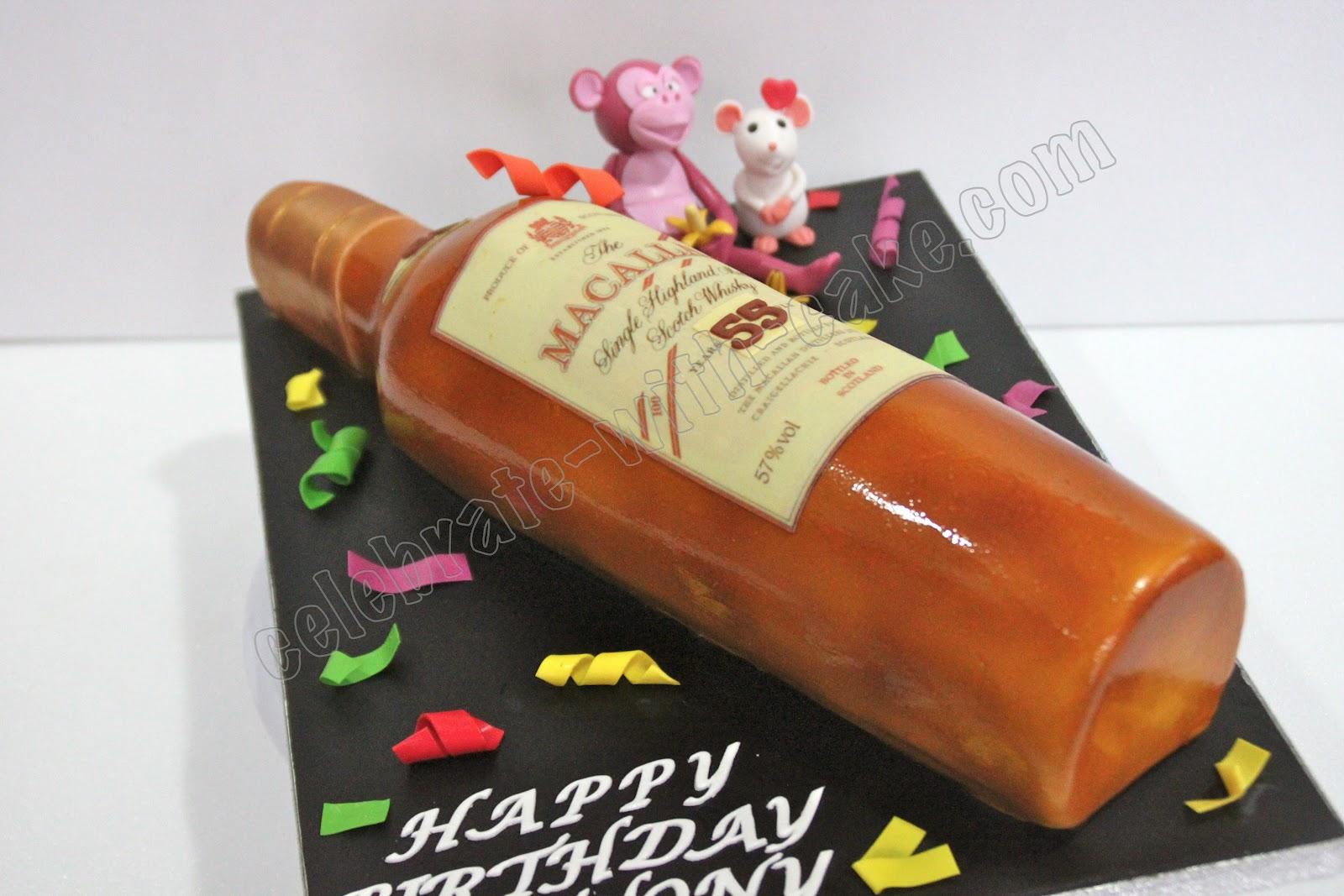Macallan Whiskey Bottle Cake