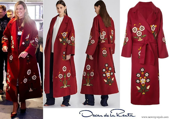 Queen Maxima wore Oscar de la Renta claret multi embroidered wool cashmere coat