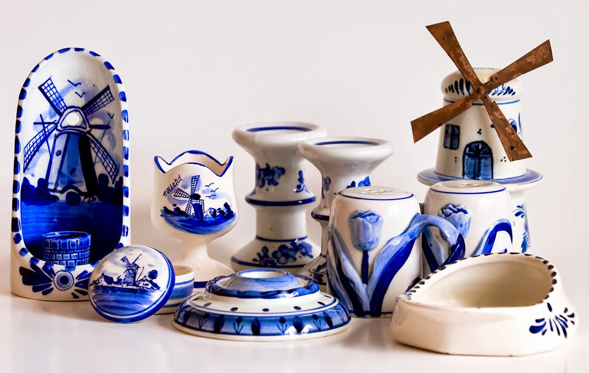 "Some newer, and some vintage pieces of ""Blue Delft"" from Holland. Often purchased by tourists and collected world wide."