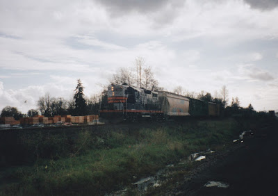 Willamette & Pacific GP9R #1801 in St. Helens, Oregon, in Fall 1997