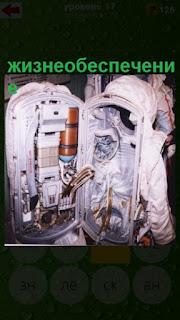 сзади у космонавта открыто место где находится жизнеобеспечение