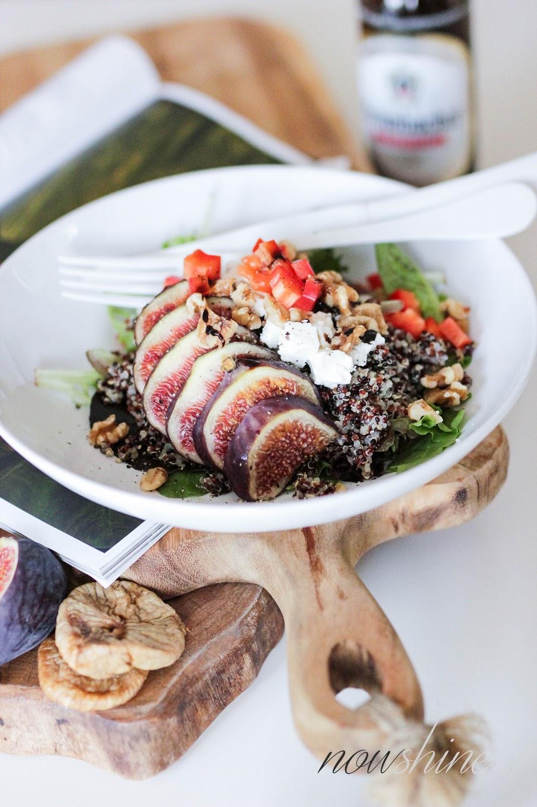 Herbstliches Quinoa Bowl Rezept mit Feigen und Feta passend zu Krombacher Alkoholfrei
