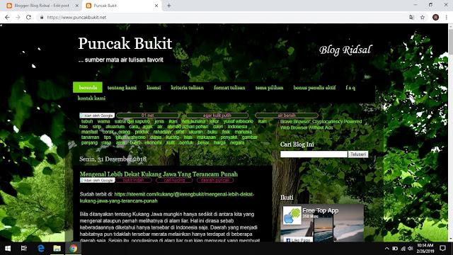 Pengalamanku Menjadi Penulis di Situs Puncak Bukit - Tampilan
