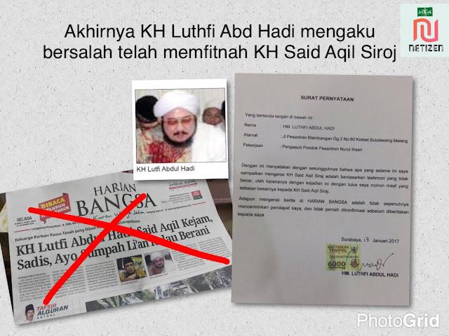 Alhamdulillah, KH Luthfi Abd Hadi Minta Maaf karena Memfitnah KH Said Aqil Siradj