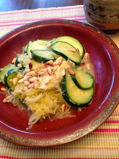 Spaghetti Squash Parmesan with Zucchini and Pine Nuts by Future Relics Gallery