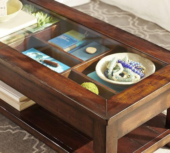Rectangle Coffee Table With Glass Top Display Case Storage