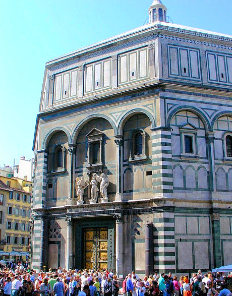 Saint John's Baptistery in Florence and Ghiberti's 'Gates of Paradise' on its eastern facade.