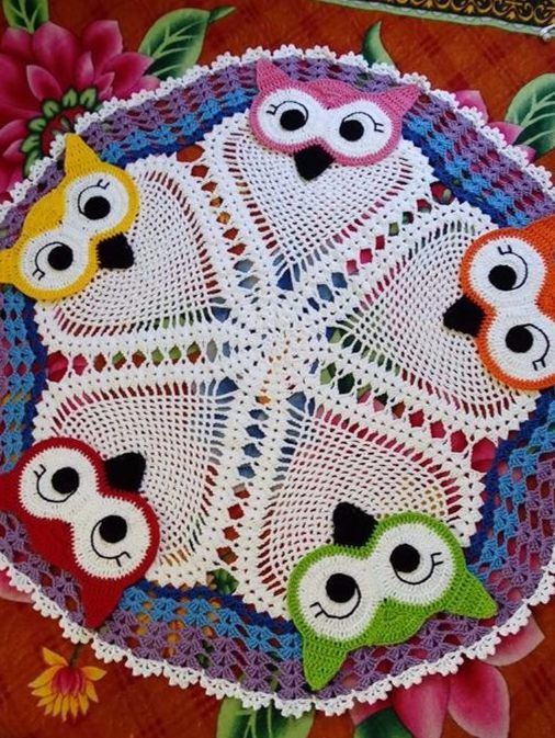 Crochet Rug With Lovely Owls Easy