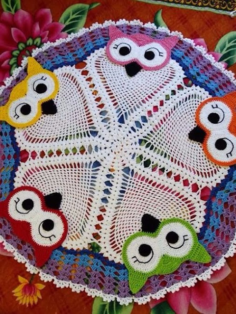 Crochet rug with lovely owls with easy video