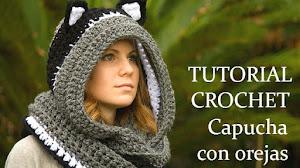 Cómo tejer una capucha crochet con orejas de gato / Tutoriales en video