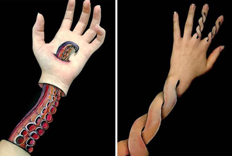 Artista corporal ilustra ilusiones opticas surrealistas en su brazo 32