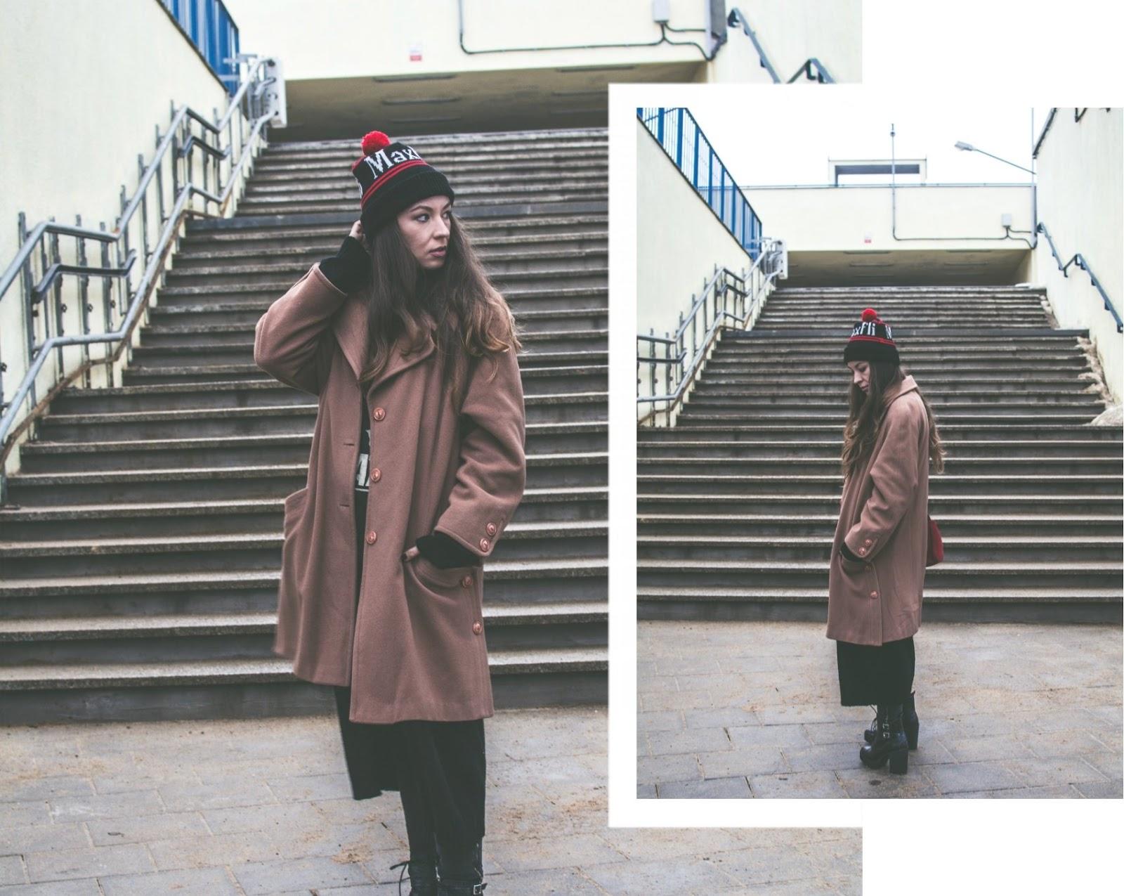 camel vintage maxi coat