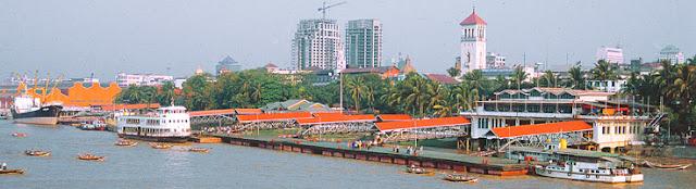 Yangon harbor for trip to south Myanmar