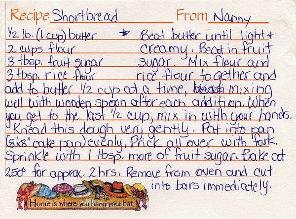 A recipe card with country hats, and a shortbread recipe.