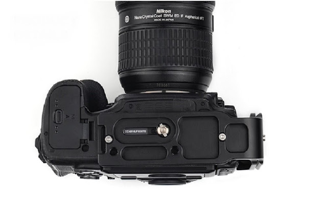 Sunwayfoto PNL-D850 L bracket on Nikon D850 bottom view