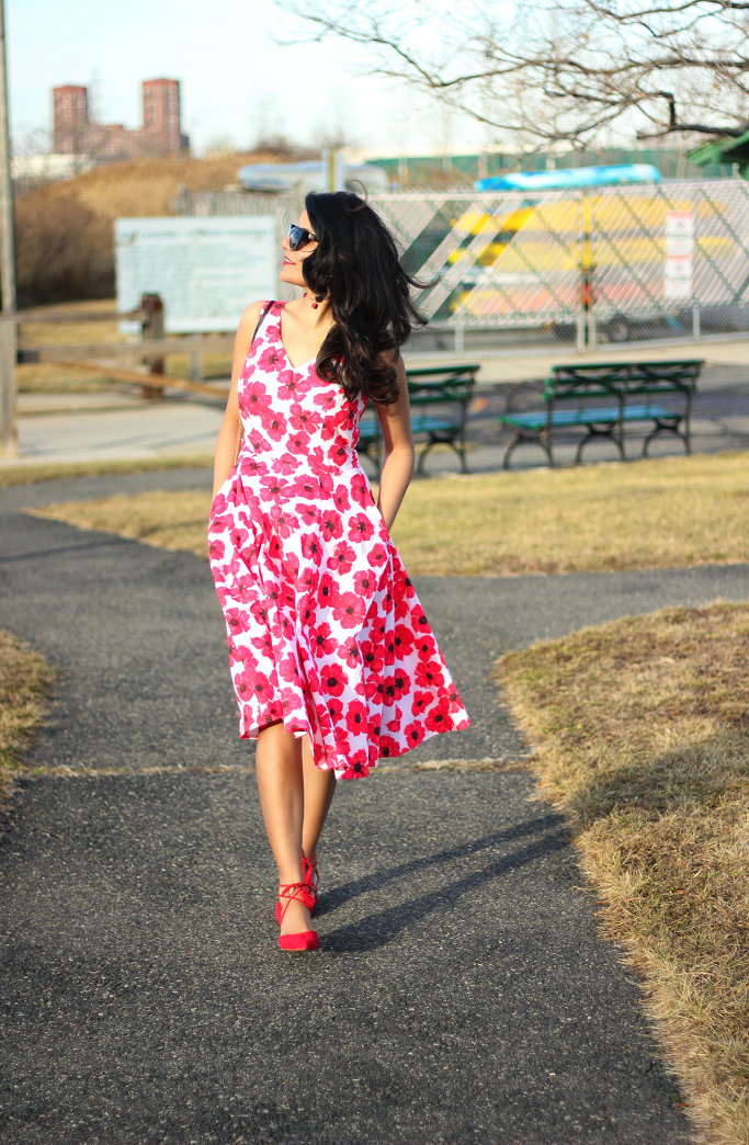 eShakti Hibiscus Print Dress, Red Floral Dress, Spring Dress For Garden Party, Kate Spade Dress Lookalike, Valentine Day Dresses, Halogen Red Pumps, Red Ankle Tie Pumps