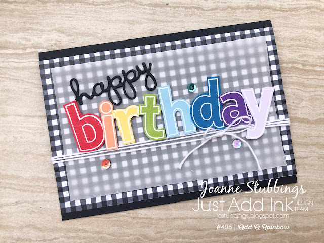 Jo's Stamping Spot - Just Add Ink Challenge #495 using Lined Alphabet & Well Written dies by Stampin' Up!