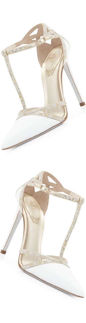 Rene Caovilla Crystal Snakeskin T-Strap Sandal, White