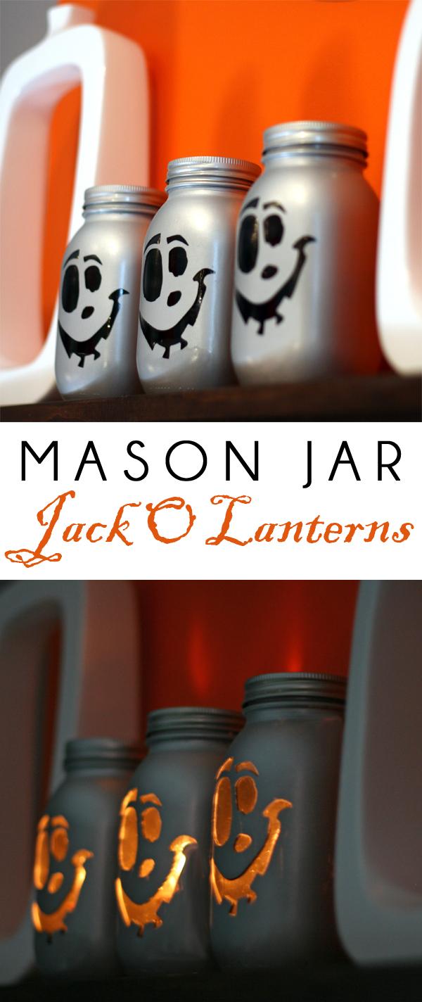 Metallic modern mason jar jack o'lanterns
