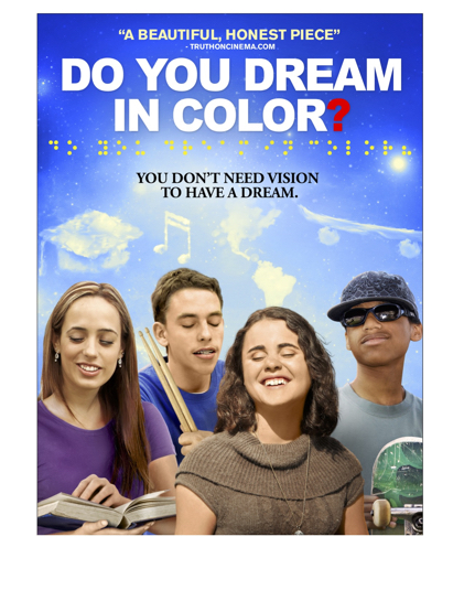 Movie poster of four youth with images of their dreams above their heads