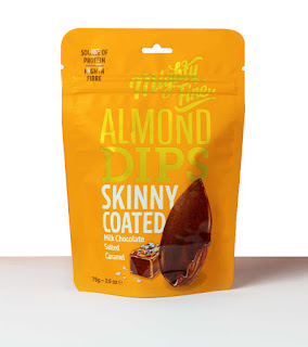 Salted Caramel Almond Chocolate Watercolor illustration on packaging