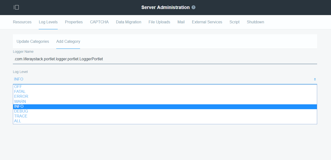 Liferay 7 Loggers Server Administration