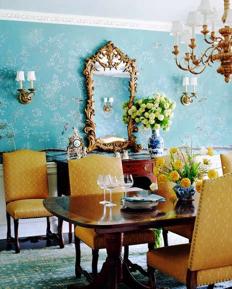 Yellow Dining Rooms: The Glam Pad: Blue De Gournay And Gracie Wallpapered