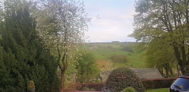 The view of green fields from the front garden.