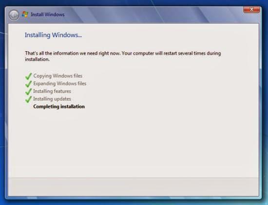 Instalare windows 7 - instalarea fisierelor sistemului de operare in calculator