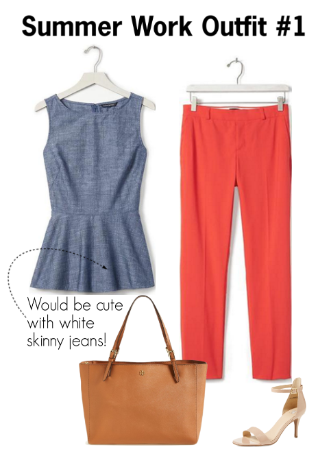 work outfit idea with red pants | how to style red pants for work | chambray peplum top | good work bags | a memory of us | summer work outfit ideas | cute outfits to wear to work this summer