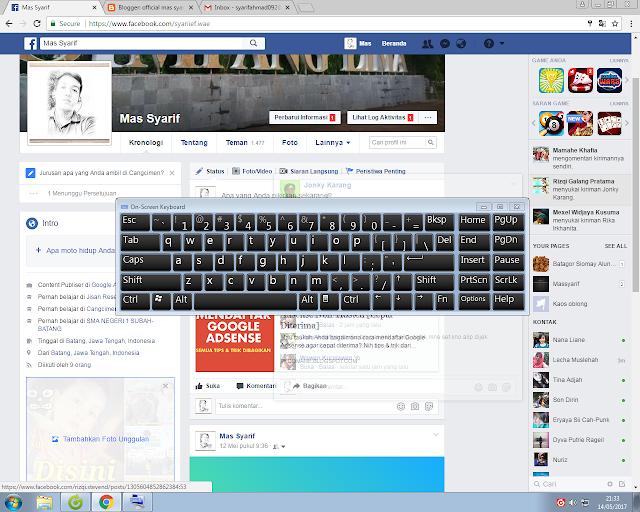 Memunculkan Keyboard Virtual di layar komputer