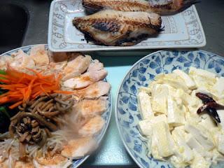 鶏ナムル(2種類) 赤魚の粕漬 豆腐ニンニク焼き