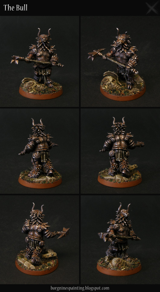Heavily converted miniature of Stormcast Eternal Obryn the Bold for Warhammer Underworlds: Shadespire, turned into a knight hiding himself in an armor resembling a minotaur, in an aesthetic resembling Dark Souls or AoS28.