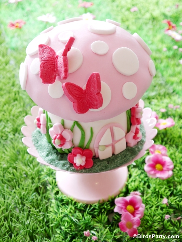 Pink Pixie Fairy Birthday Party DIY Cake - BirdsParty.com