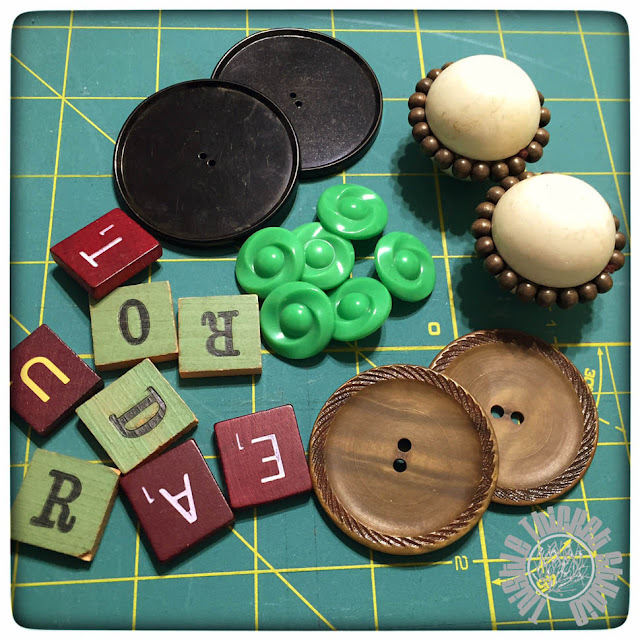 Vintage Buttons and Scrabble Tiles by Thistle Thicket Studio. www.thistlethicketstudio.com