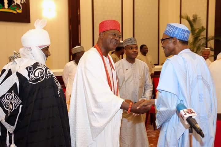 President Buhari Hosts Ooni Of Ife, Sultan Of Sokoto, Emir