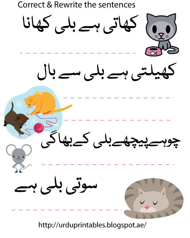 Urdu Printable Worksheets  More Sentence Writing Practice