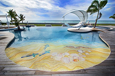 epoxy painted 3D flooring for swimming pools