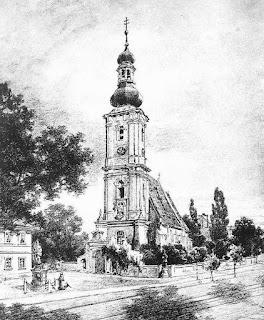 Rysunek Otto Ferdinanda Probsta z 1897 r., kościół św. Maurycego Przedmieście Oławskie, św. Jan Nepomucen